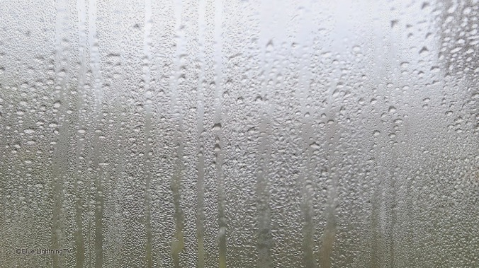Foggy, rainy, window pane