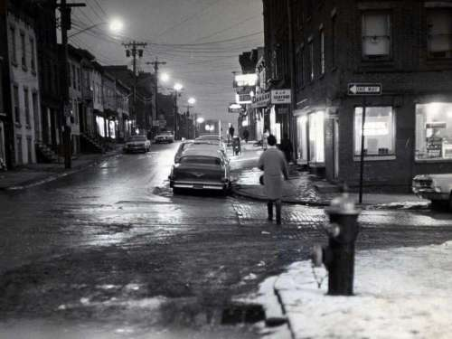 Night view looking north up North Swan St. in Arbor Hill Feb, 1967, in Albany, N.Y. (Times Union archive)